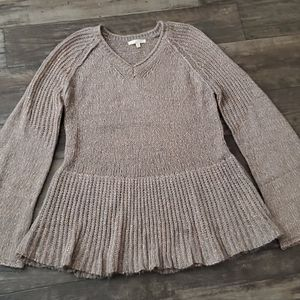 Mystree Marled Open Knit V-Neck Tunic Sweater